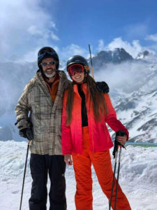 Steve & daughter skiing
