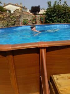 steve and jan jan in pool
